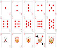 Playing Cards set - Diamonds Stock Photos