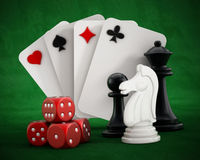 Playing cards set, dice and chess pieces Royalty Free Stock Photo