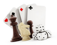 Playing cards set, dice and chess pieces Stock Image