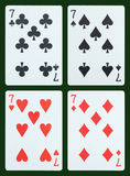 Playing cards - Seven Royalty Free Stock Photos
