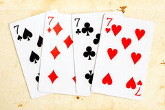 Playing cards - seven (poker) Stock Image