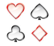 Playing cards signs. Glass, red and black Stock Photography