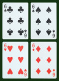 Playing cards - Six Stock Photography