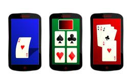 Playing cards smartphones Stock Photo