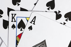 Playing cards. Some of the cards stacked together Royalty Free Stock Photo