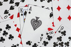 Playing cards. Some of the cards stacked together Royalty Free Stock Photography