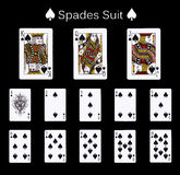 Playing cards spade suit. Faces double sized. Isolated on black royalty free stock images