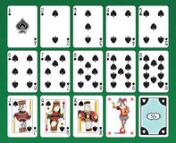 Playing cards of Spades. Set of playing cards on green background. The figures are original design as well as the jolly, the ace of spades and the back card Royalty Free Stock Images