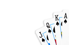 Playing cards. Spades poker hand Royalty Free Stock Photo