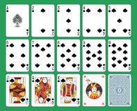 Playing Cards Spades Suit. On green background. Original figures, joker and back Royalty Free Stock Photo