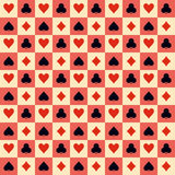 Playing Cards Suits Seamless Pattern. Vector. Two playing Cards Suits Seamless Patterns and Backgrounds. Vector Illustration Royalty Free Stock Photos