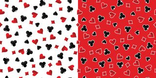 Playing Cards Suits Seamless Patterns. Vector Stock Photo