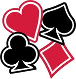 Playing cards Suits spades hearts diamonds clubs. Vector royalty free illustration