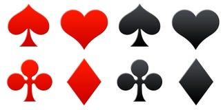 Playing cards symbols. Diamond spade and heart icons Stock Photos