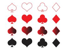 Playing cards symbols. Clubs,hearts,diamonds and spades in a collection Royalty Free Stock Photo
