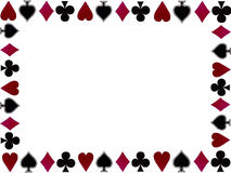 Playing cards symbols frame. Frame of playing cards symbols with space for text on white background Stock Photography