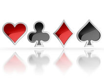 Playing cards symbols - heart, club, diamond and spade 3d icons. Playing cards symbols - heart, club, diamond and spade 3d illustration Stock Image