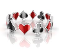 Playing cards symbols - heart, club, diamond and spade 3d icons. Playing cards symbols - heart, club, diamond and spade 3d illustration Royalty Free Stock Image