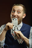 Playing cards trick Royalty Free Stock Photos