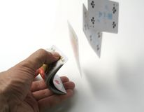 Playing cards tricks focuses Royalty Free Stock Photography