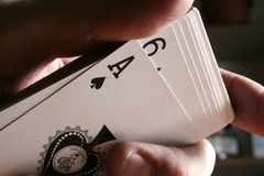 Playing cards tricks focuses Royalty Free Stock Photos
