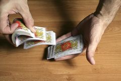 Playing cards tricks focuses Royalty Free Stock Photo