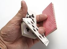 Playing cards tricks focuses Royalty Free Stock Images