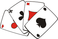 Playing cards tricks focuses. Secrets of tricks and focuses at use of playing cards Royalty Free Stock Photo
