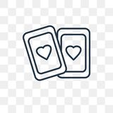 Playing cards vector icon isolated on transparent background, li. Playing cards vector outline icon isolated on transparent background, high quality linear royalty free illustration