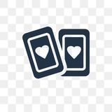 Playing cards vector icon isolated on transparent background, Pl. Aying cards transparency concept can be used web and mobile royalty free illustration