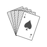 Playing Cards Vector Illustration In Flat Design. Playing Cards vector in monochrome, black color. Spread out cards with ace on top. Illustration for gambling Stock Image