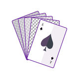 Playing Cards Vector Illustration In Flat Design. Playing Cards vector in flat style. Spread out cards with ace on top. Illustration for gambling industry Royalty Free Stock Photo
