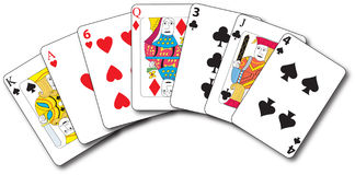 Playing cards. A vector illustration of seven playing cards including king of spades,ace of hearts,six of hearts,queen of diamonds,three of clubs,jack of clubs Royalty Free Stock Images