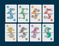 Playing cards whit dogs. Playing card series whit dogs pattern Stock Images