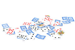 Playing cards on white. A deck of generic playing cards are spread out on white, some face up, some face down Stock Image