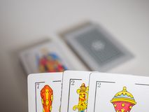 Playing cards. Game concept. First person point of view stock images
