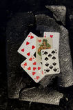 Playing cards in the winter ice Stock Photography