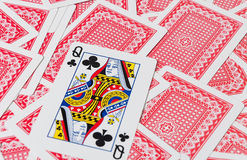 Playing cards on wooden table, closeup stock photography