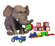 Playing cartoon elephant baby Stock Photography