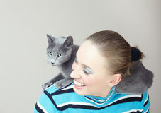 Playing with cat Stock Image