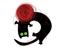 Playing cat. Vector black cat playing with a ball of yarn Stock Image