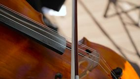 Playing the cello close up stock footage