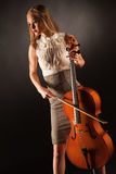 Playing on cello girl Stock Photo