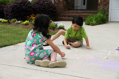 Playing With Chalk Royalty Free Stock Photo