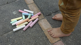 Playing with chalk Royalty Free Stock Images