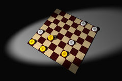 Playing checkers. With euros and dollars Royalty Free Stock Photo