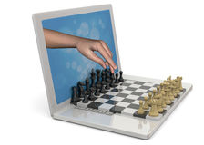 Playing Chess against the Computer - 3D Royalty Free Stock Photography