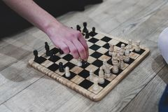 Chess on the floor stock photography