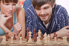 Playing chess game Stock Images