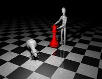 Playing chess game concept with 3d figurine Stock Photos
